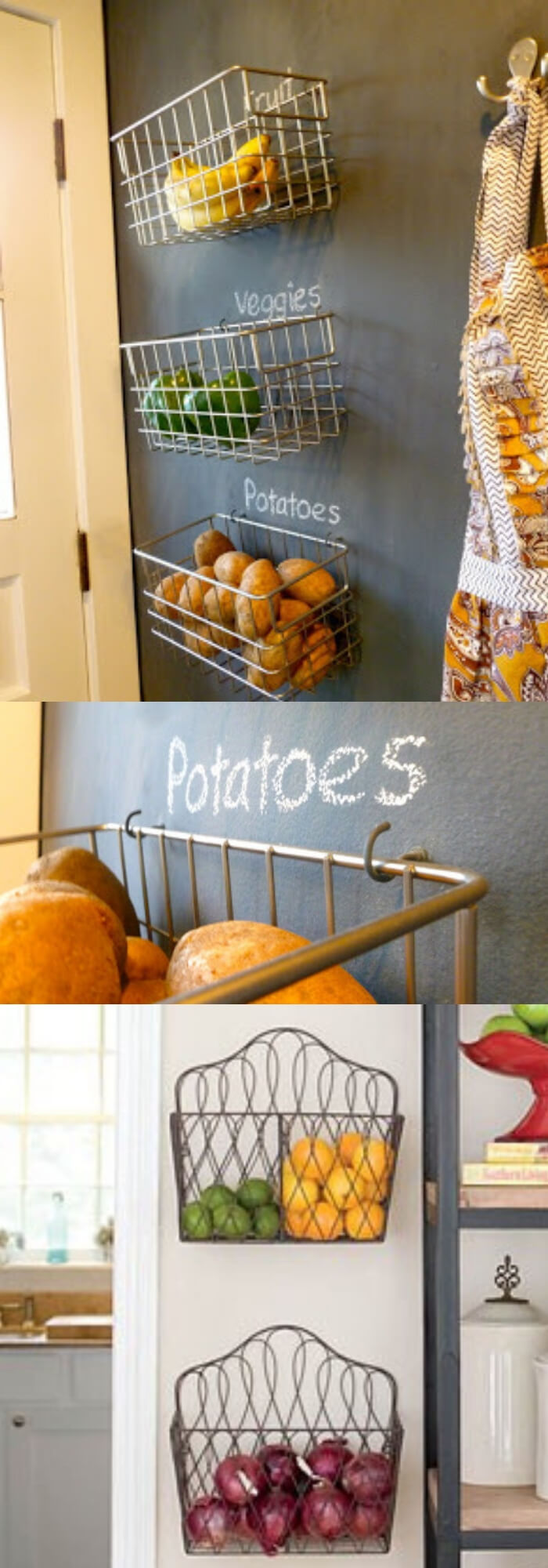 Fruit and Veggie Hanging Wall Baskets   Best Fruit and Vegetable Storage Ideas For Your Kitchen