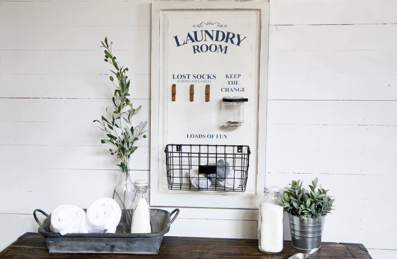 DIY Farmhouse Laundry Room Ideas: Laundry room board