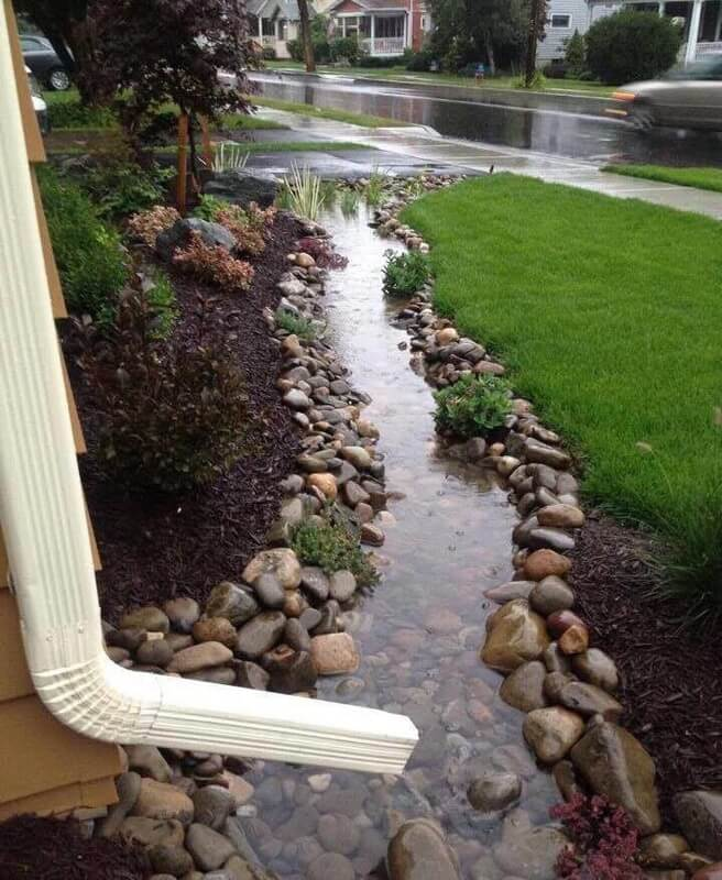 Build a dry creek | Best Downspout landscaping ideas