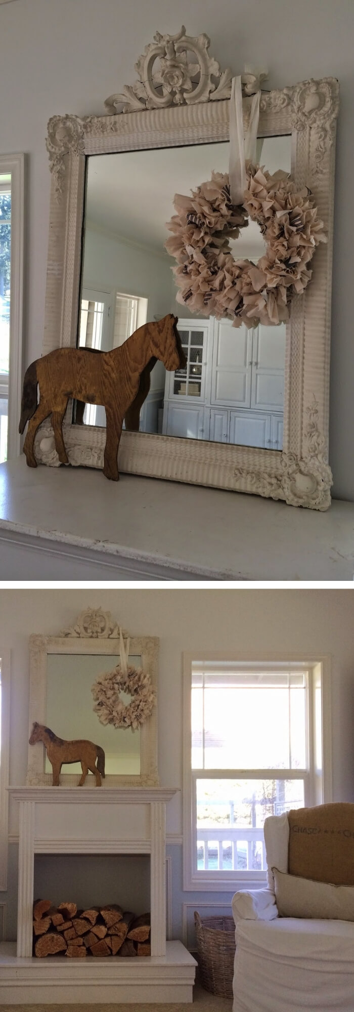 Vintage mantel with a wreath and a wooden horse above a fireplace | Stunning Farmhouse Dining Room Design & Decor Ideas