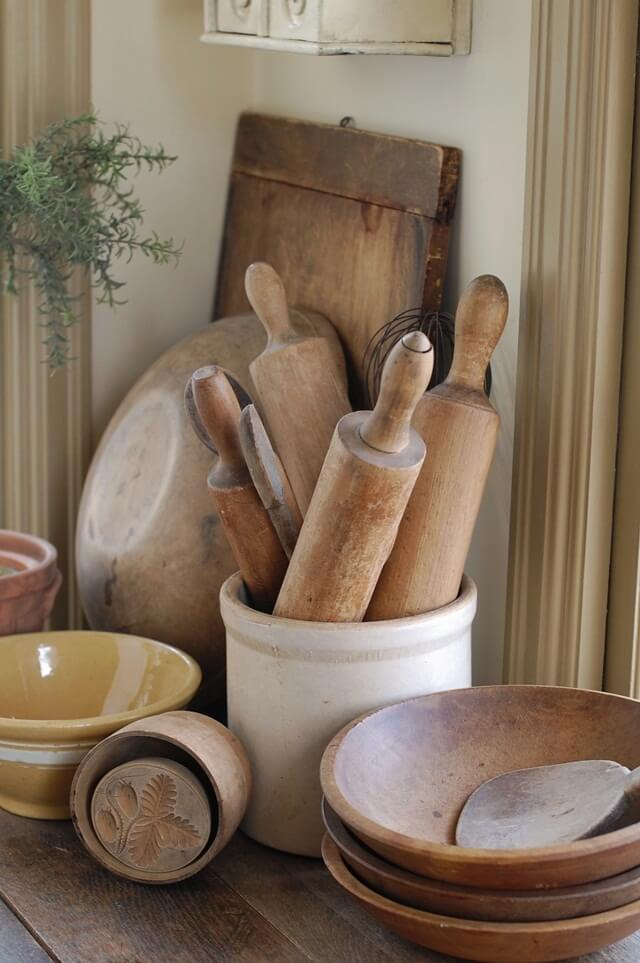 Wooden bowls, stoneware crocks full of rolling pins | Inspiring Farmhouse Kitchen Design & Decor Ideas