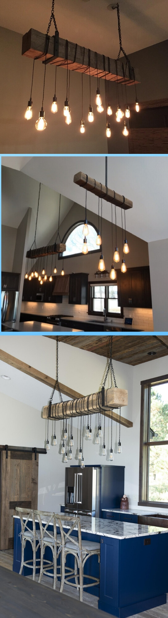 Farmhouse Lighting Designs & Ideas: Industrial Farmhouse Lighting: Barn Beam Light Fixture w/ metal brackets
