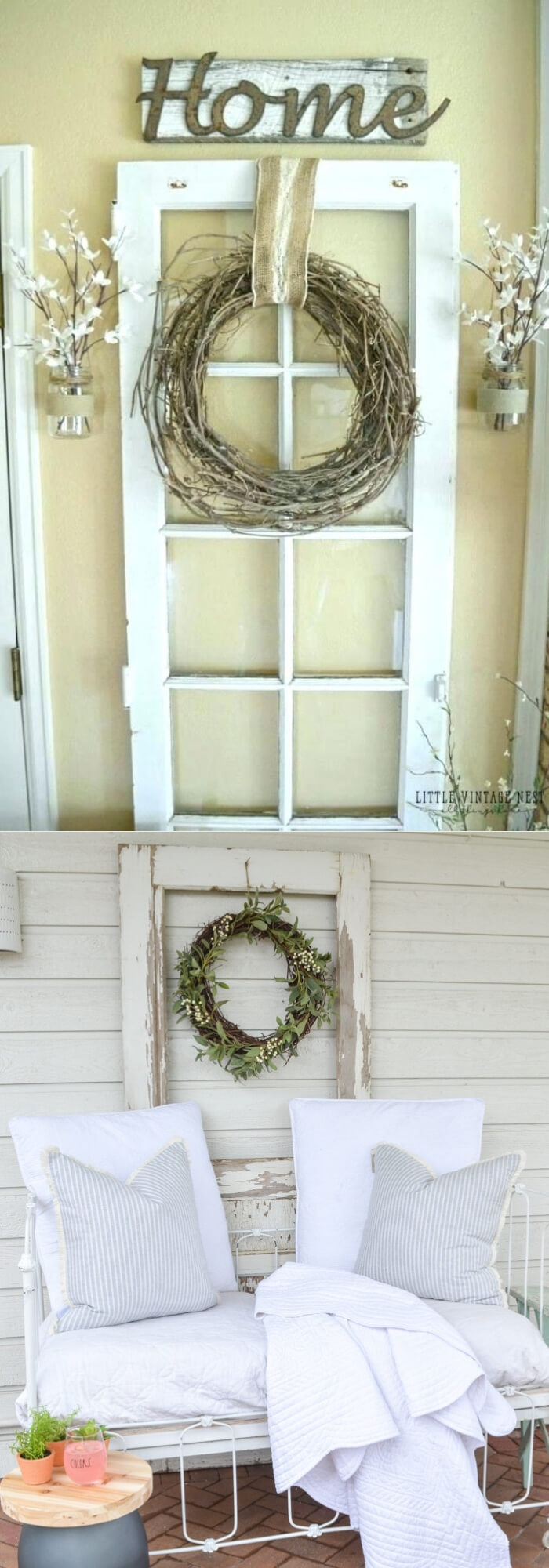 An old door decor with a twisted dry branch wreath | Stunning Farmhouse Dining Room Design & Decor Ideas