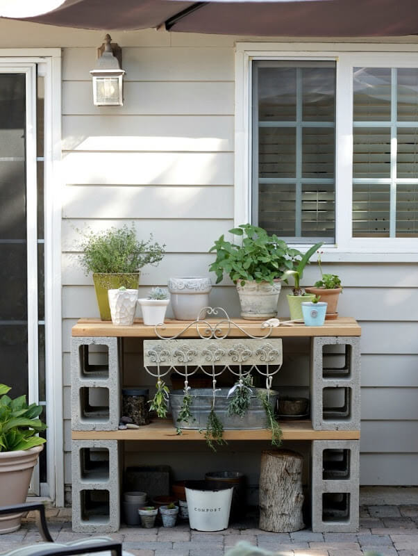Simple Cinder Block Potting Table