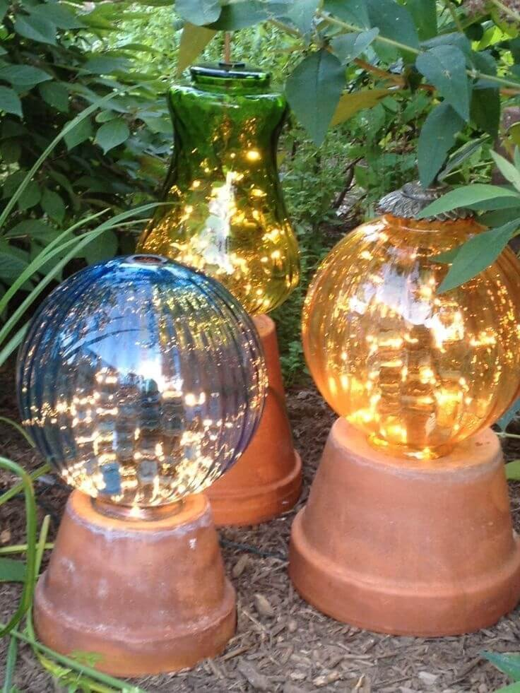 Garden clay pot lights