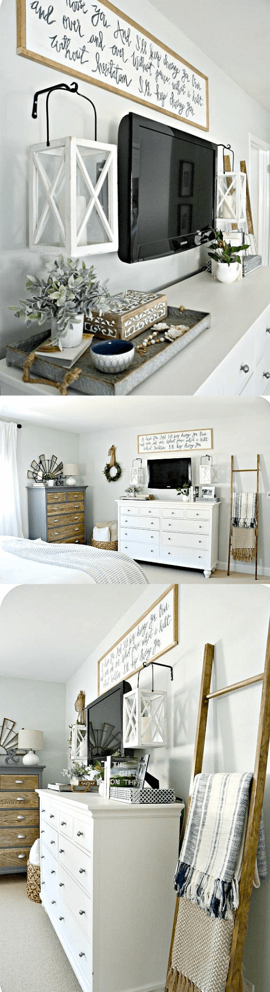 Master bedroom makeover: Lantern Wall Fixtures with Sign