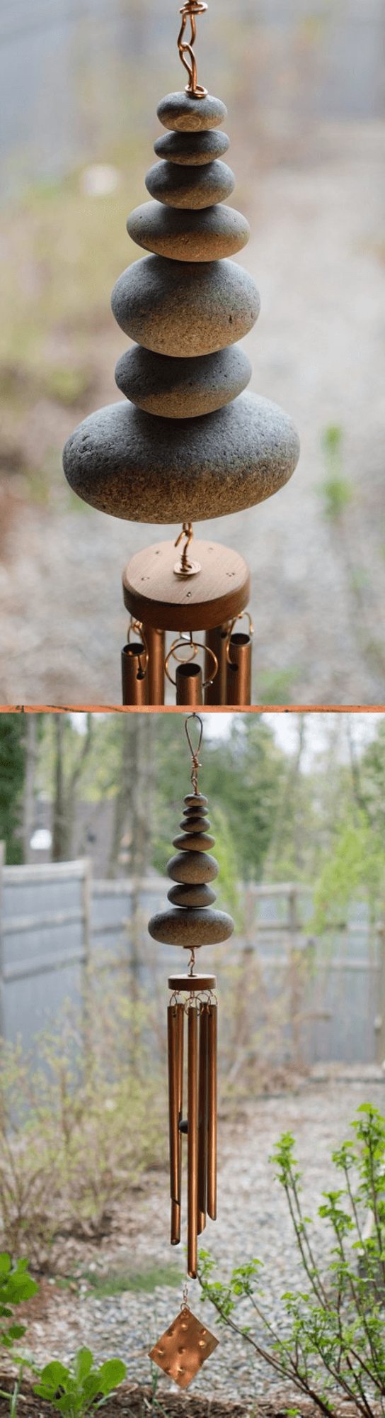 Wind Chime Outdoor Large Copper Beach Stones Handcrafted
