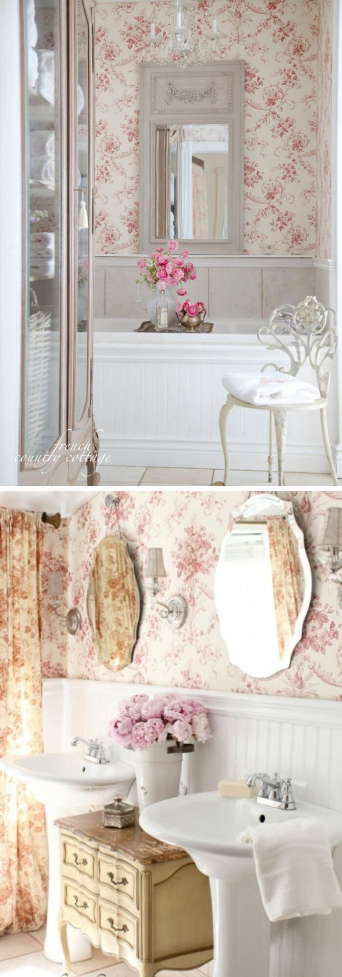 Charming Cottage Style Bathroom Ideas French Ornate Mirror