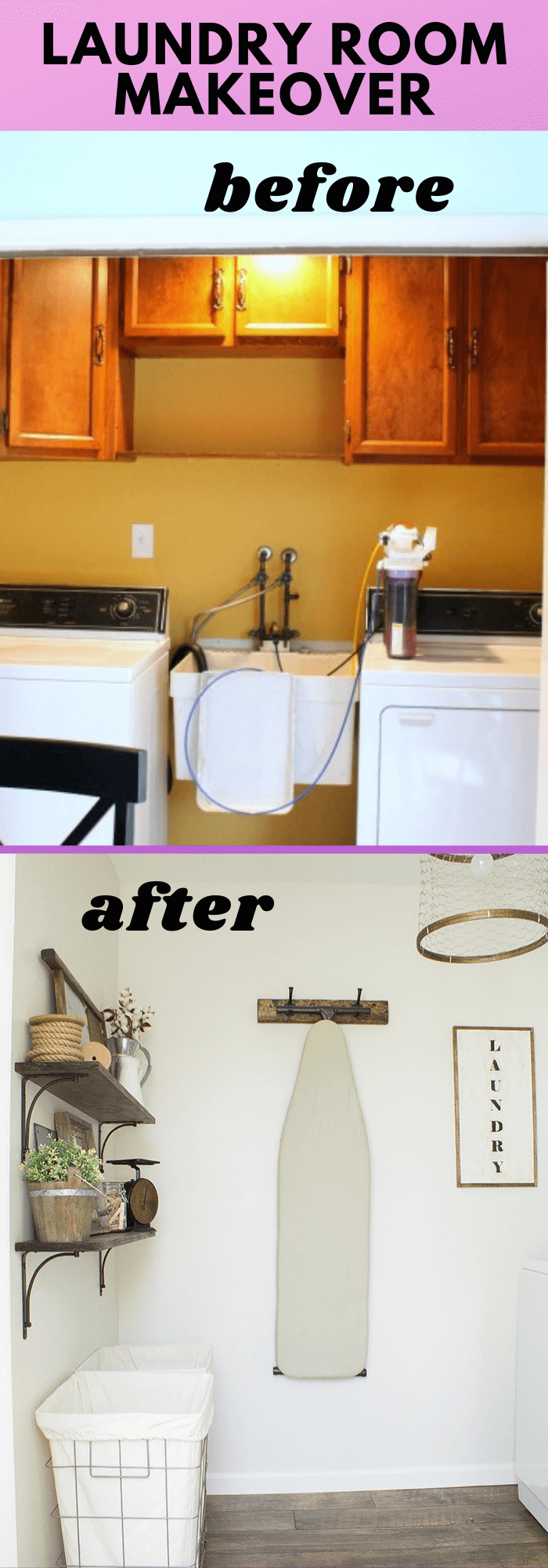Rustic industrial laundry room: Wood shelf with a lot of fun accessories and hampers for laundry bins