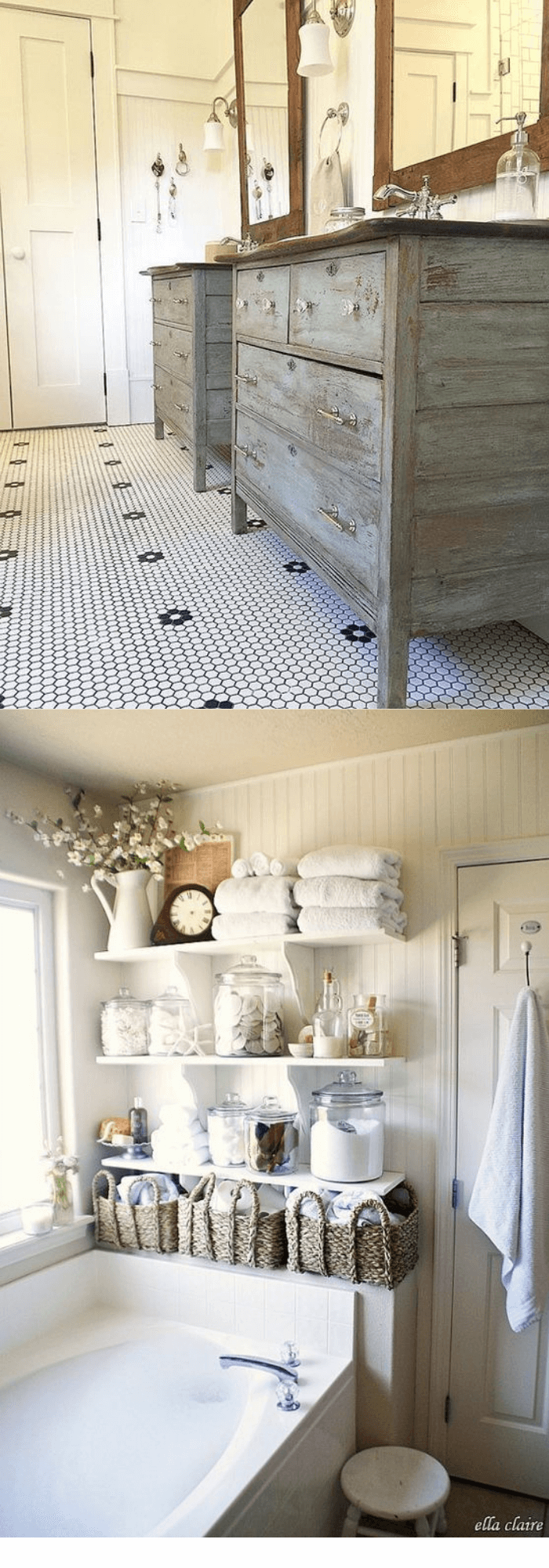 Charming Cottage Style Bathroom Ideas Double converted vanities, tile floor, painted side tables and shelves