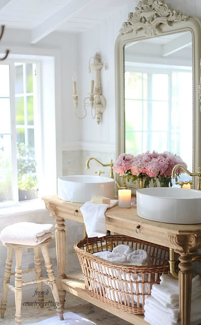 Charming Cottage Style Bathroom Ideas Vanity with oval sinks
