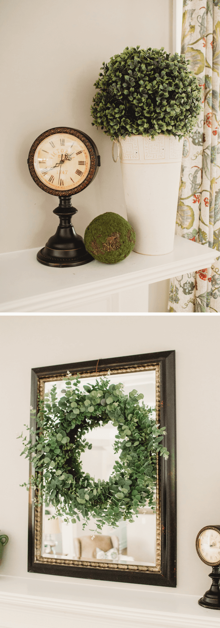 Summer Farmhouse Decor Ideas & Designs Pressed-tin vase with a faux boxwood ball for fireplace
