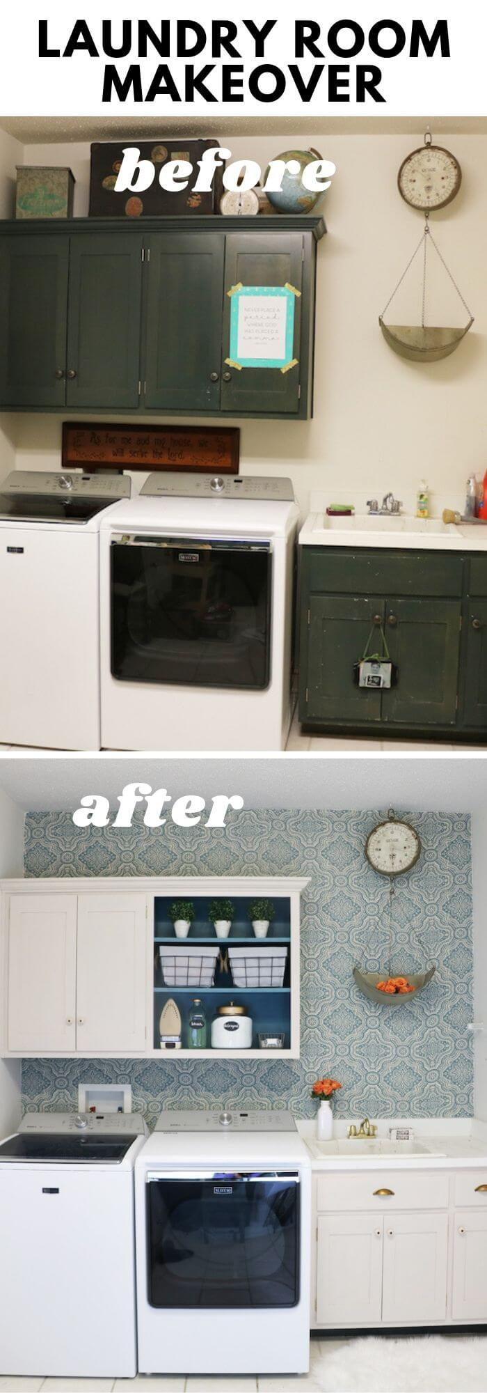 The Linen cabinets with fabric wall