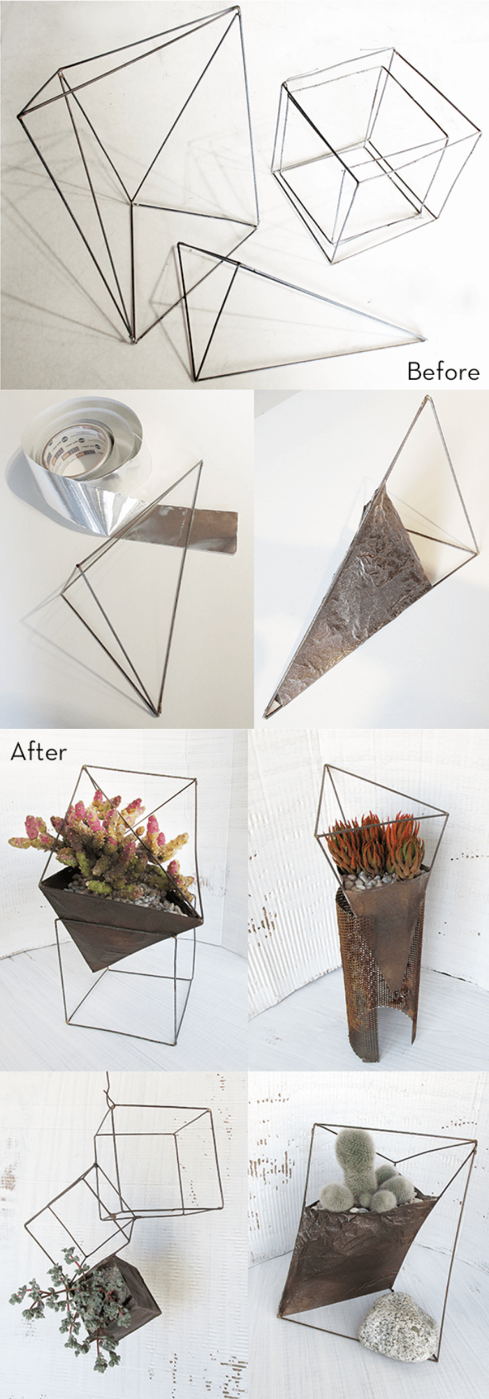 Turn Wire Sculptures into Geometric Succulent Planters