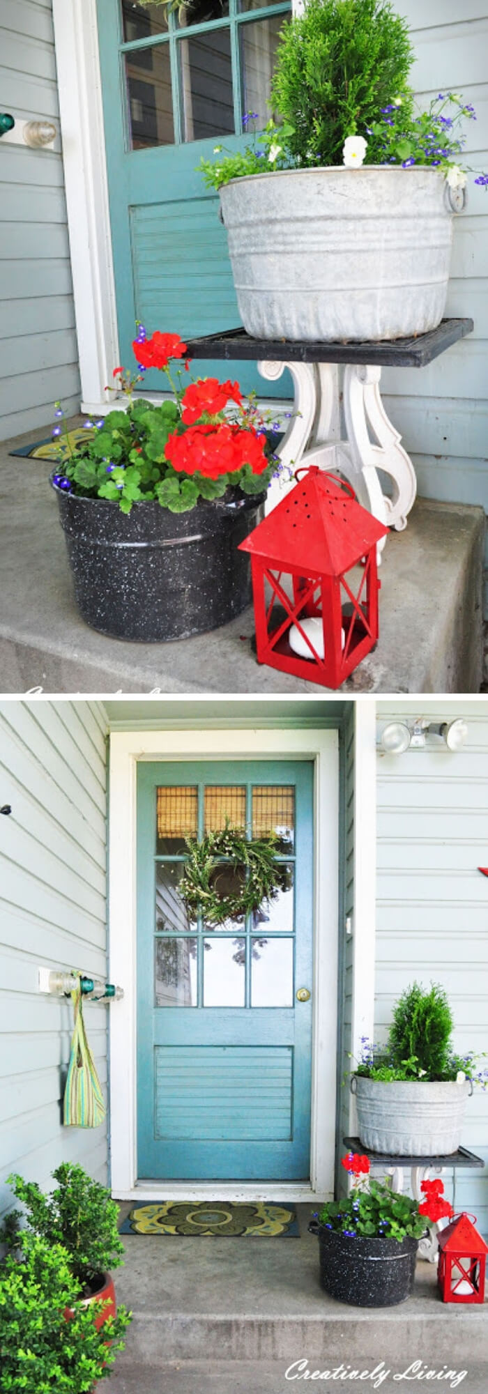 Large metal planter and the black canning pot
