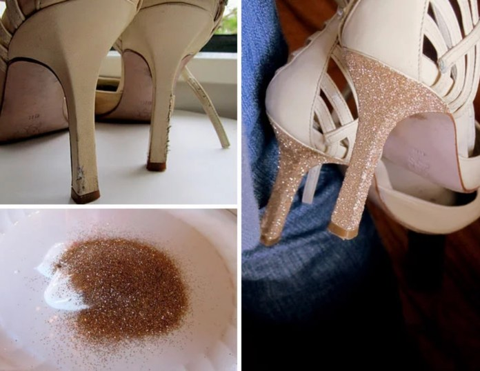 Worn heels covered with glitter