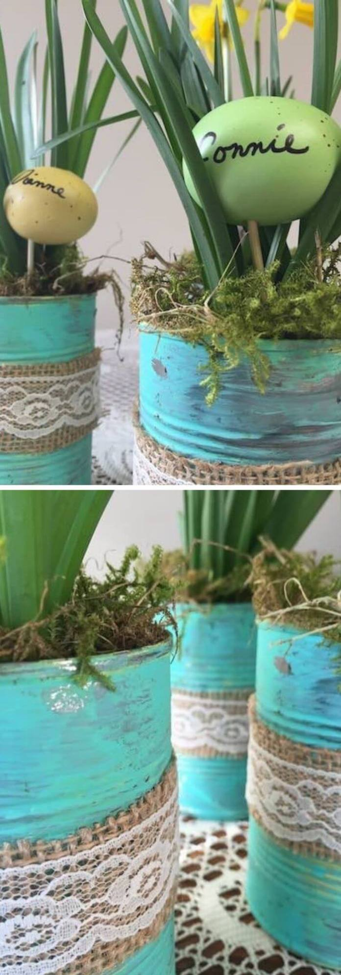 Tin Can Planters With Easter Eggs