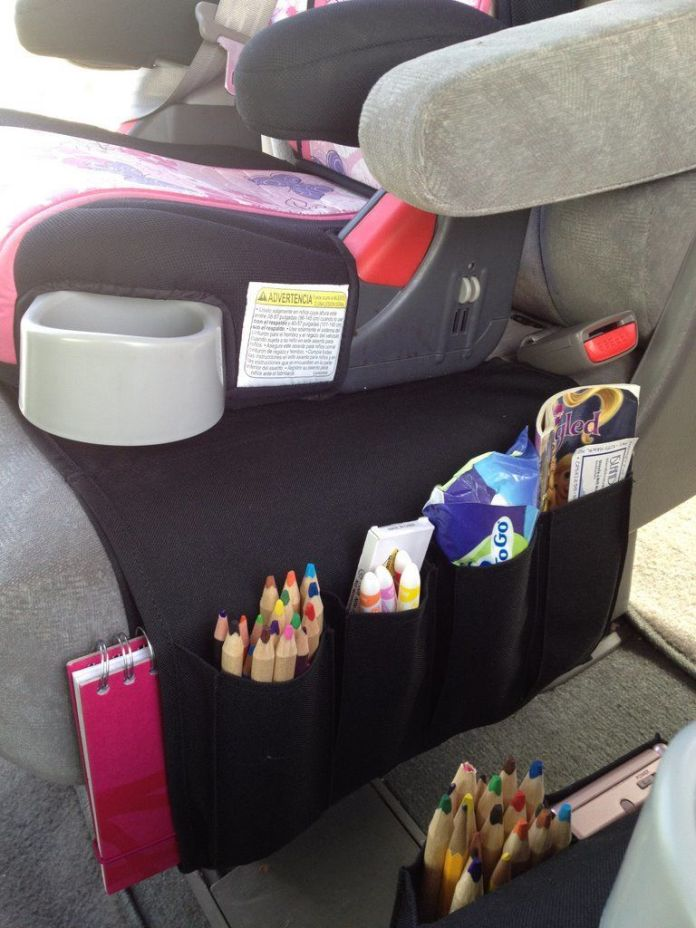 The organizer of colors and books for the car