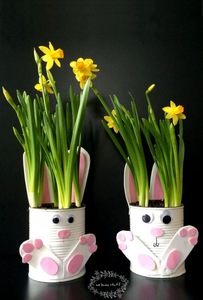 Bunny Planters from Tin Can