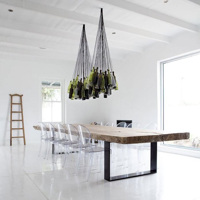 Hanging wine bottle lamps