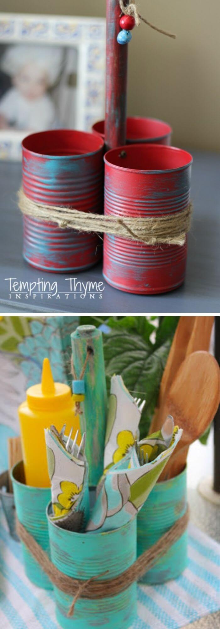 Upcycled tin can caddy