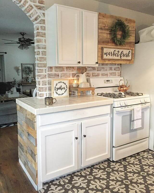 Use the faux brick for the backsplash