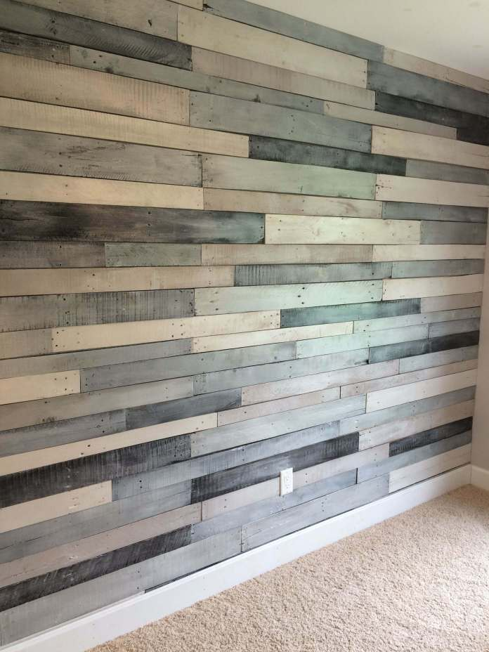 Pallet wood wall using Benjamin Moore Metallic paint -silver and charcoal