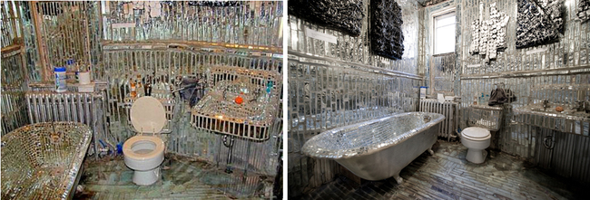 the bathroom made entirely of pieces of crystals