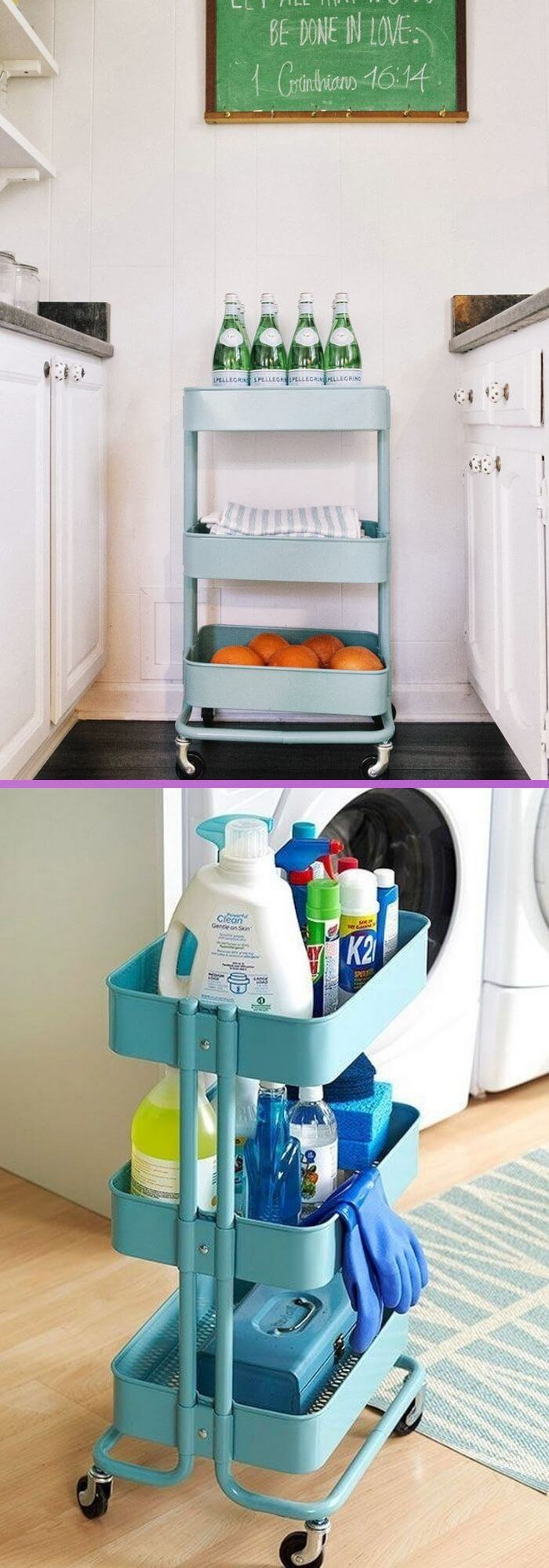 Shelf with wheels to store products in the kitchen A cart that moves where you can put hygienic products