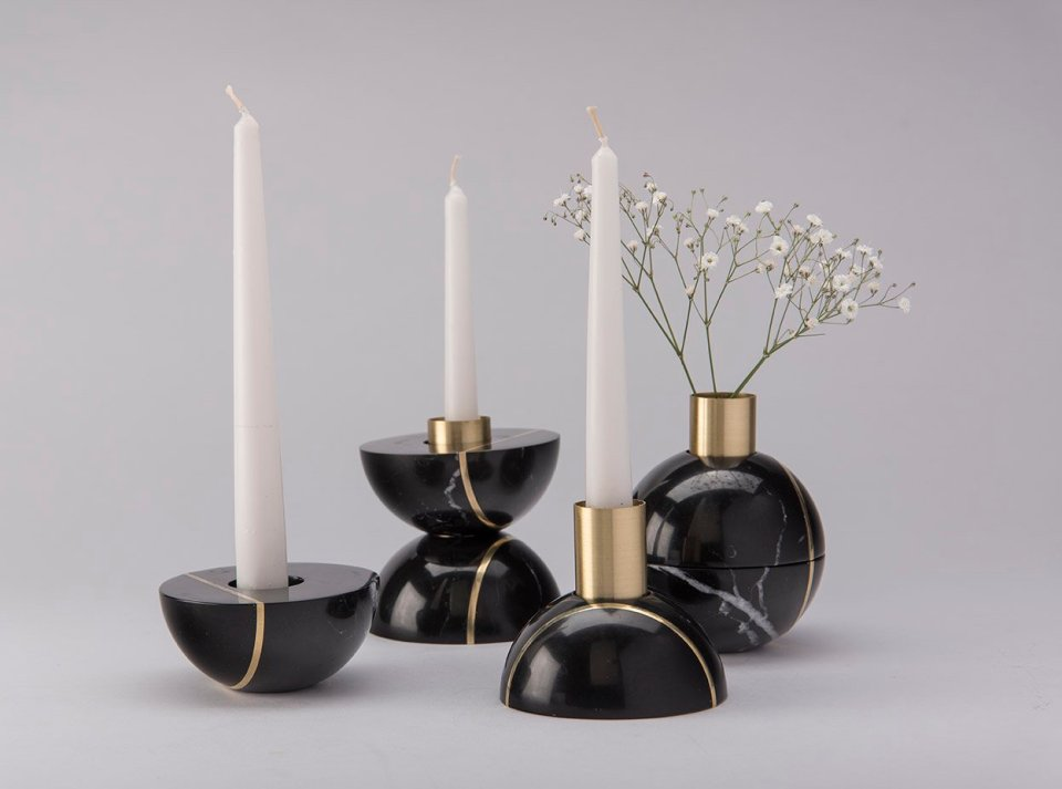 Black candelabrum that becomes flowerpot