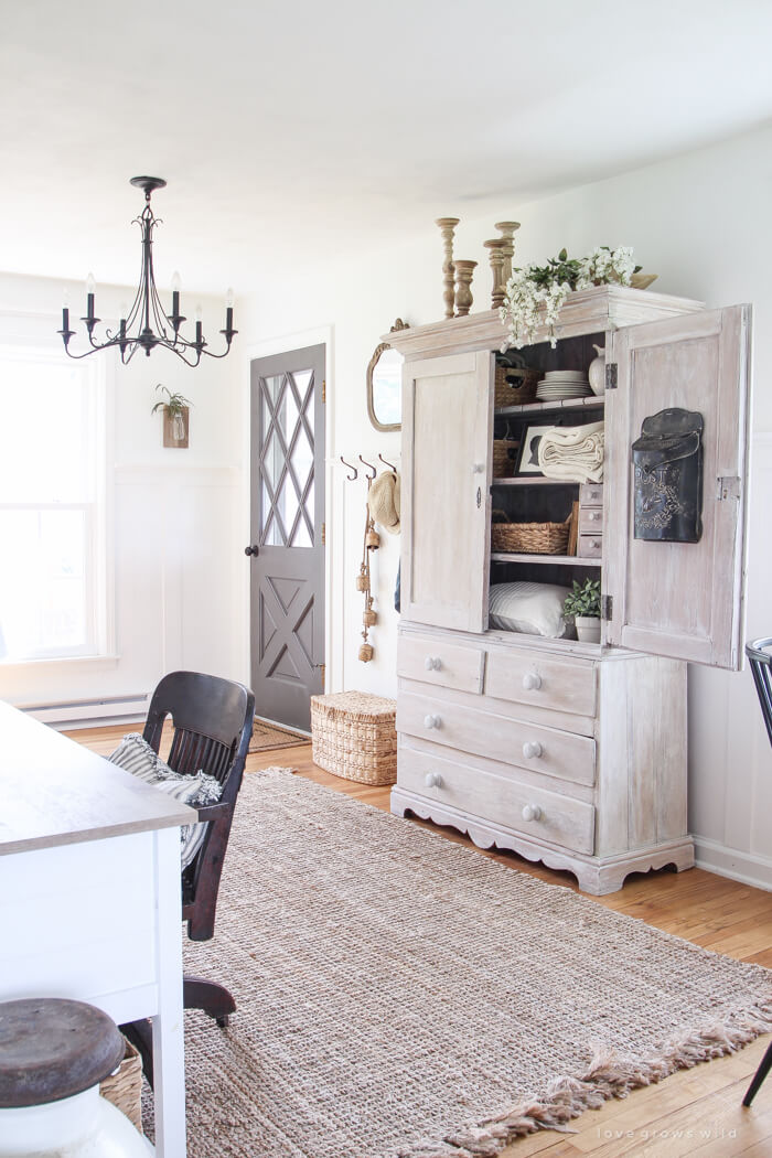 A vintage light fixtures with an armoire