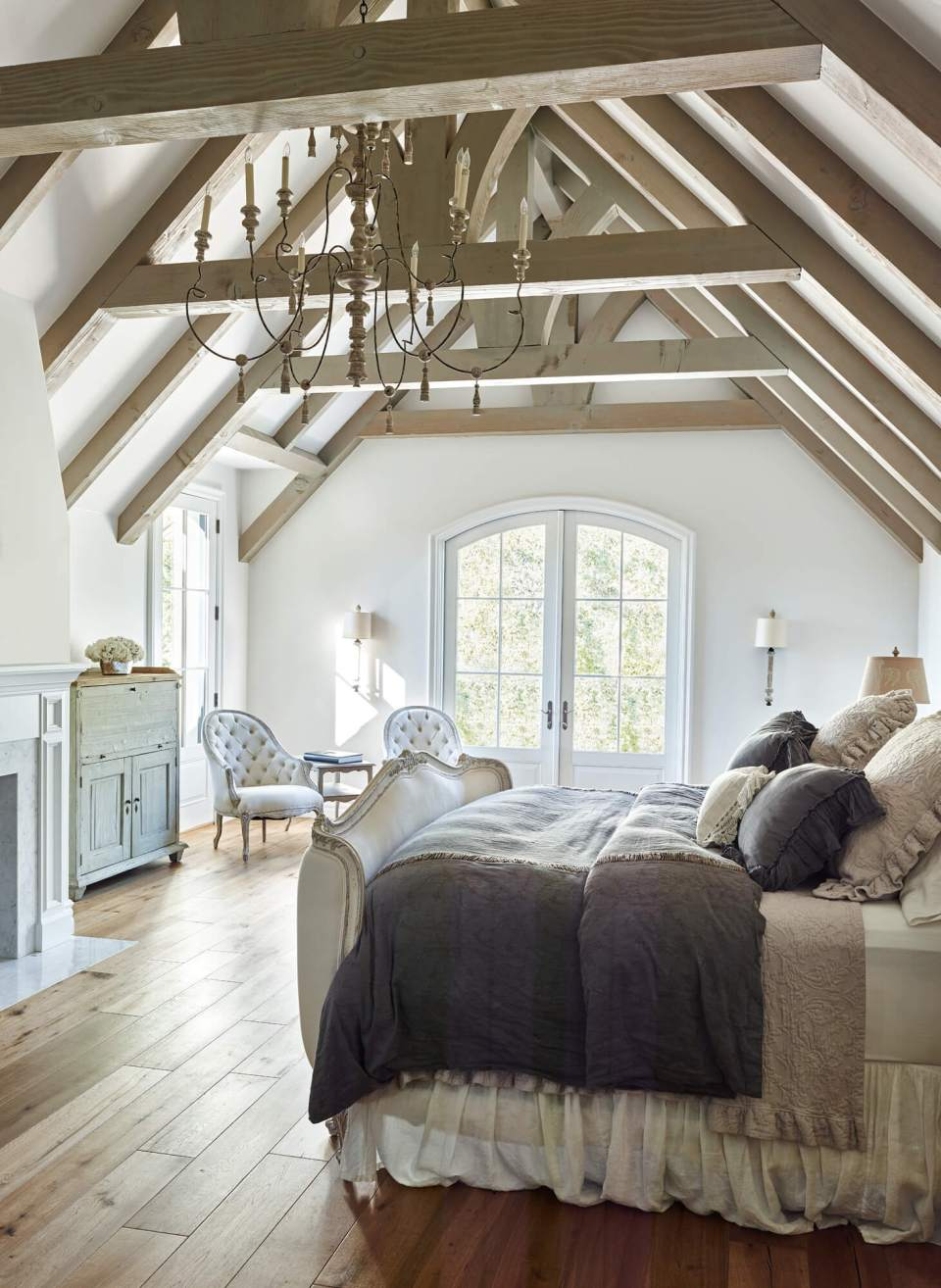 Chandelier and exposed beams