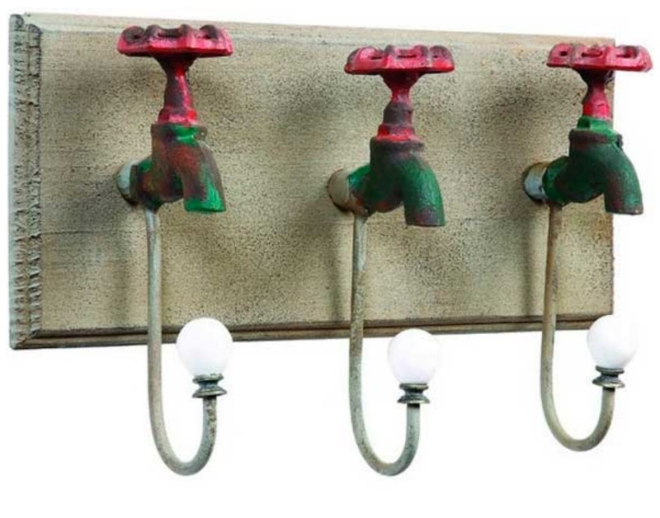 coat rack with antique faucets