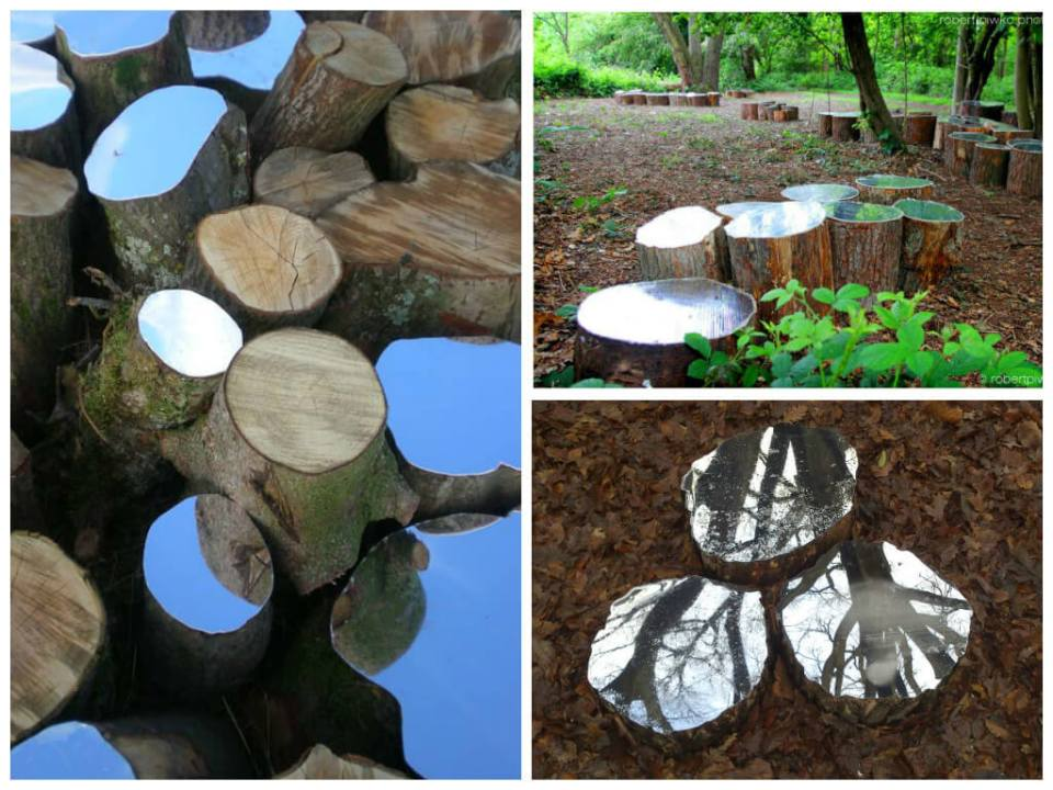 Decorate Tree Stump with Broken Mirrors
