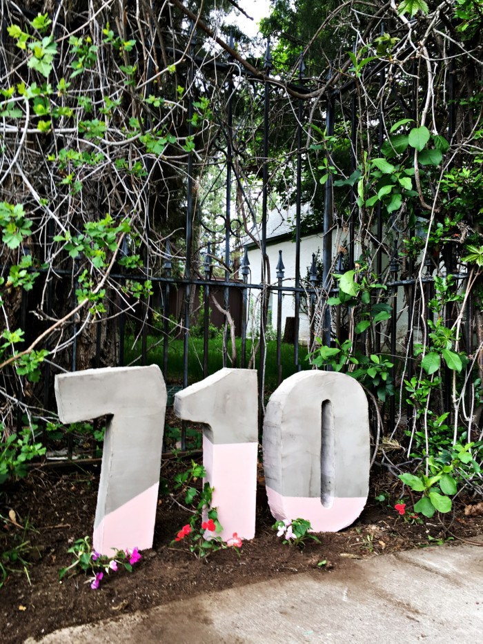 Painted cement house numbers
