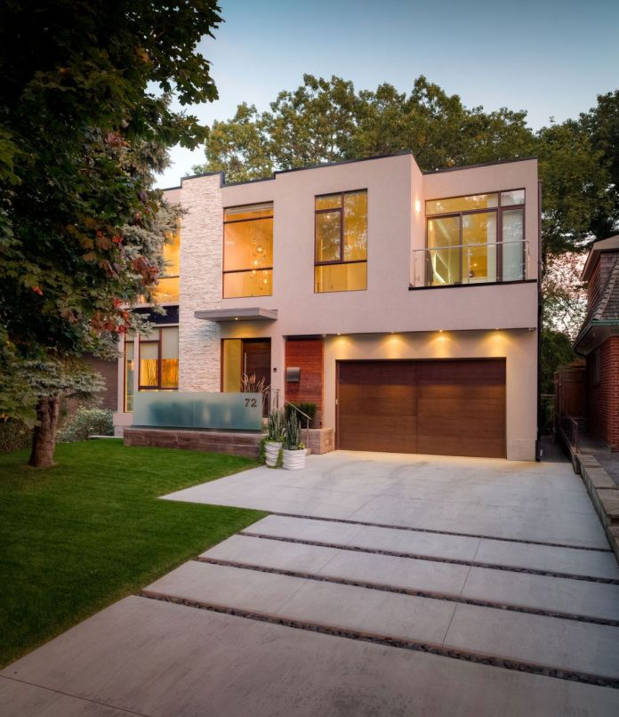 Contemporary house in pink pale color