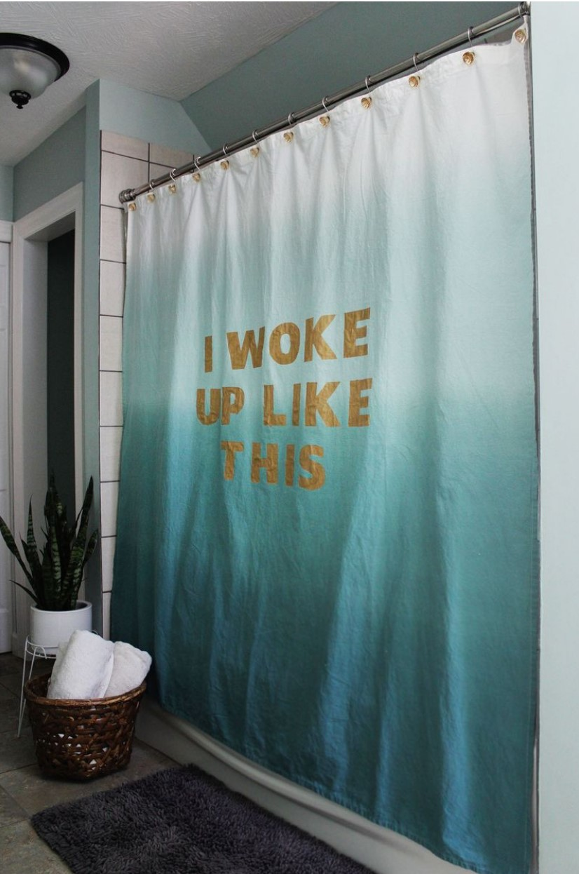 DIY Statement shower curtain