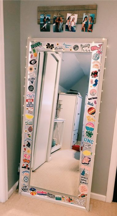 Standing mirror with lights and stickers