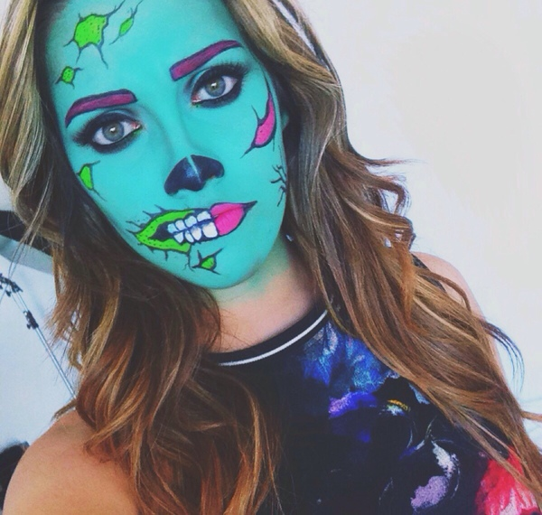 Girl with makeup for halloween like a zombie
