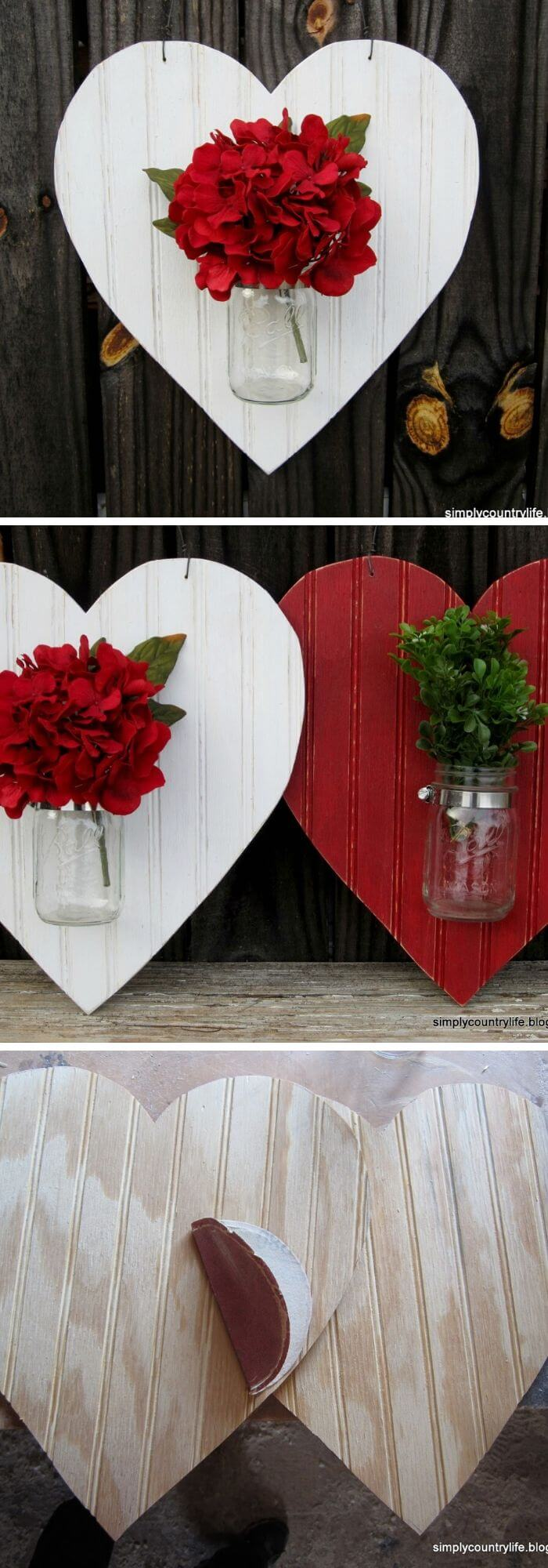 The mounted Mason jar vases - Rustic Wood Heart Projects