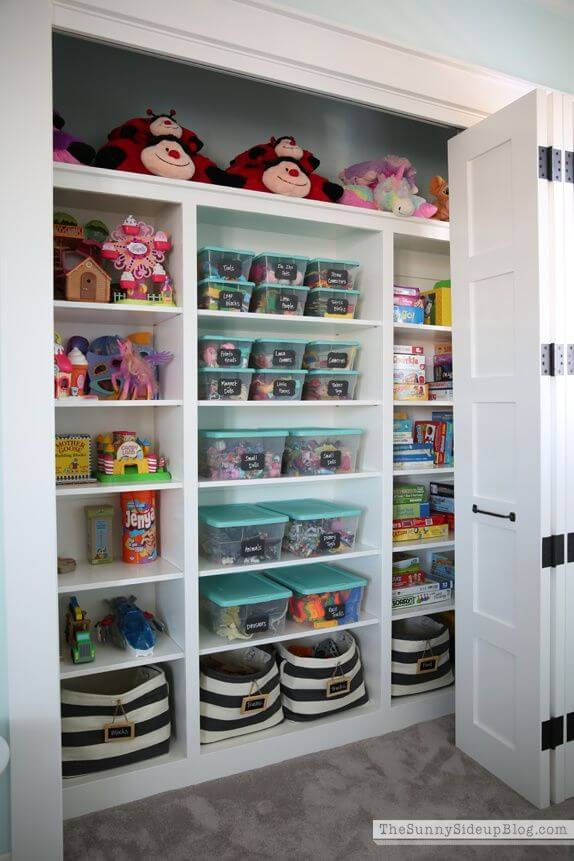 Clear boxes - Clever DIY Toy Storage & Organization Ideas & Projects For Kids