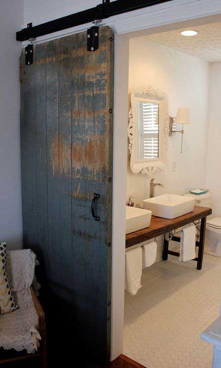 Reclaimed barn door for bathroom slide