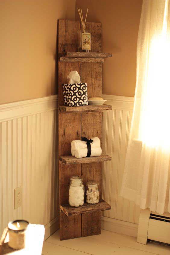 Pallet wood bathroom decor shelf