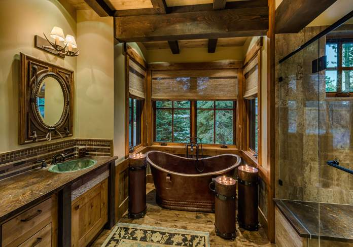 Luxurious rustic bathroom decor idea