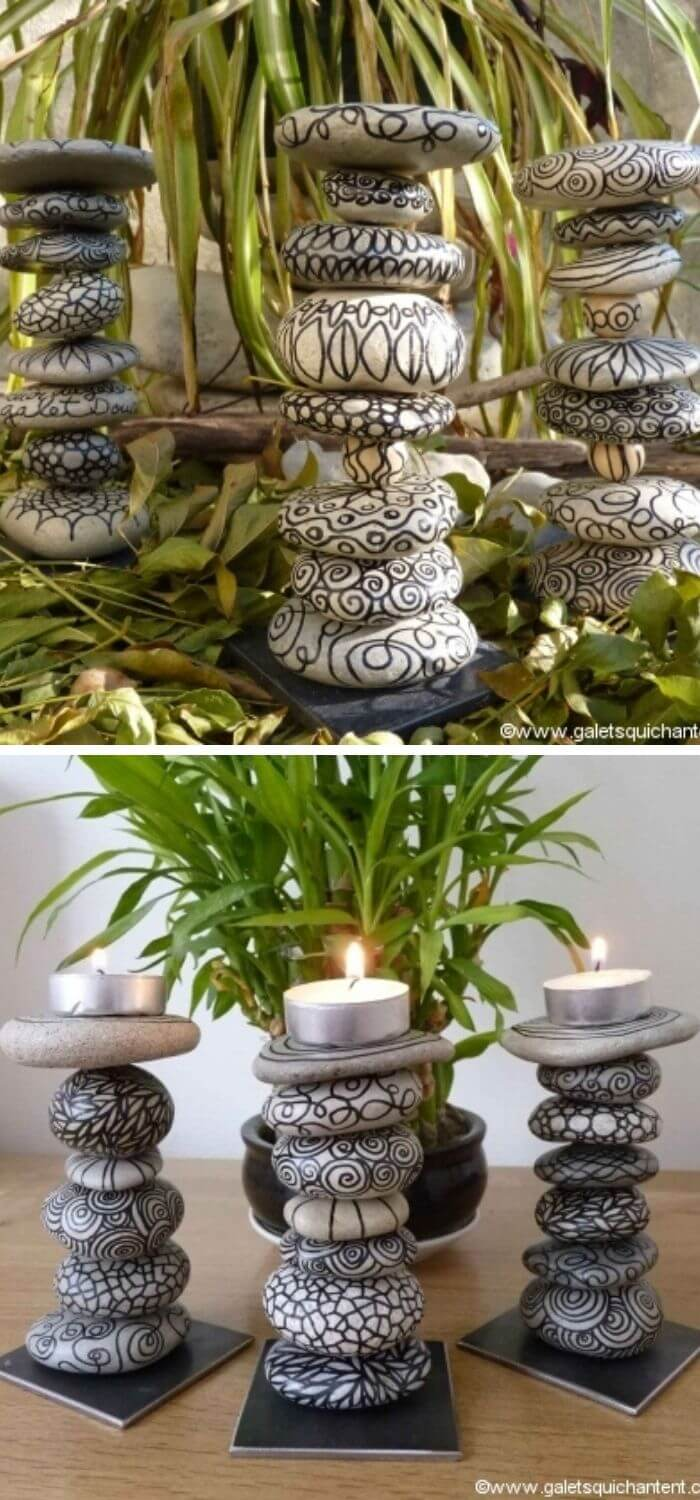 Beach Stones Candle Holder