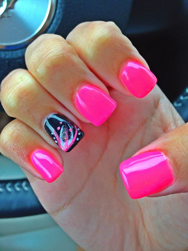 Pink and Black Acrylic Nail Designs