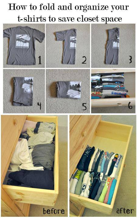How to fold T-shirt to save closet space