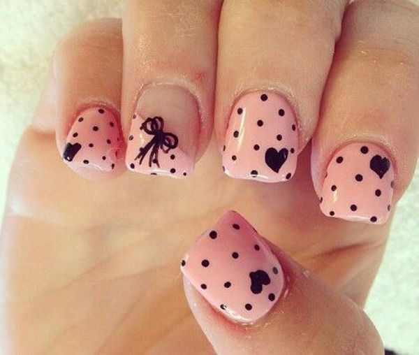 Pretty Pink Nail with Dots, Hearts and Bows Design