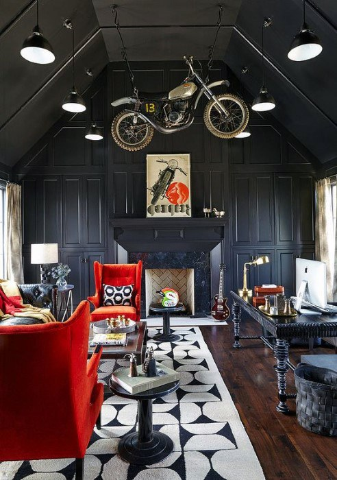 Contemporary Cool Man Cave Ideas With Office Desk