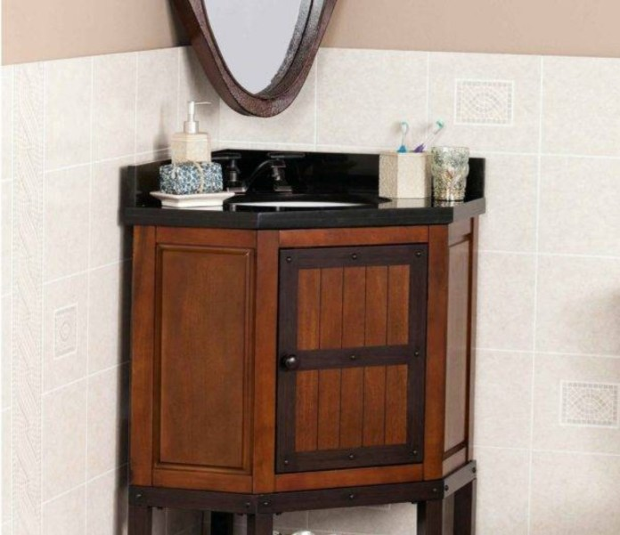 The dark brown cabinet